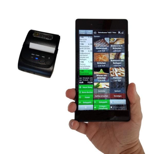 Kassensystem Handkasse 7 Zoll inkl. Bluetooth Drucker von ITCO POS