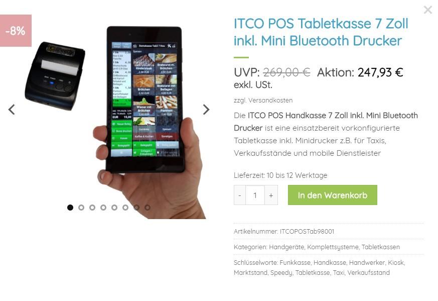 Kassensystem Zubehör Tabletkasse 7 Zoll mit Bluetooth Drucker von ITCO POS